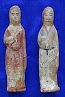 Two Chinese Tang Dynasty Stoneware Tomb Figures Grooms