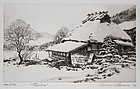 Japanese Ltd. Ed Etching Brian Williams Tamba Farmhouse