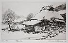Japanese Ltd. Ed Etching Brian Williams Tamba Farmhouse