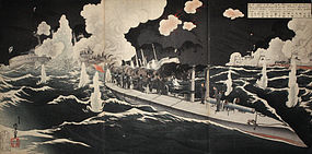 Russo-Japanese War Woodblock Print Triptych Toshihide