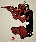 Japanese Kappa-ban Print Yoshitoshi Mori Fue Flute