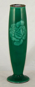 Japanese Showa Cloisonne Enamel Stem Vase Moriage Rose