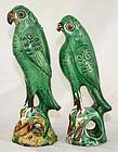 Two Qing Guangxu Pottery Joss Stick Holder Green Birds Parrots