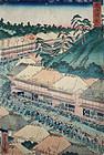 Japanese Edo Woodblock Print Yoshitora Tokaido Fujikawa