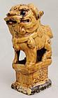 Chinese Qing Guangxu Foo Lion Dog Mustard Pottery Joss Stick Holder