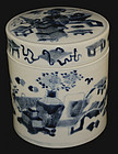 Chinese Qing Blue & White Porcelain Lidded Tea Caddy Canister