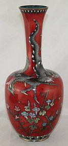 Lg. Japanese Meiji Golden Age Cloisonne Vase Dragon