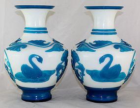 Large Mirror Pair Chinese Republic Peking Glass Vases Swans Lotus