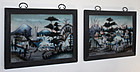 Two Chinese Qing Reverse Glass Figural Landscape Paintings