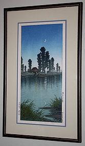 Japanese Woodblock Print Kawase Hasui Evening at Itako