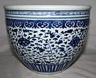 Chinese Qing Blue White Porcelain Fish Bowl Scroll Pot