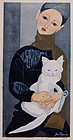 Japanese Sosaku Hanga Woodblock Print Jun'ichiro Sekino Boy With Cat