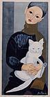Japanese Sosaku Hanga Woodblock Print Jun'ichiro Sekino Boy With Cat