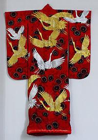 Japanese Silk Embroidered Red Ground Wedding Kimono Cranes