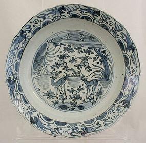 Chinese Ming Wanli Blue White Kraak Porcelain Deep Dish Deer Horses