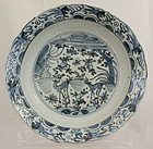 Chinese Ming Wanli Blue White Kraak Porcelain Deep Dish Deer Horses