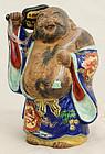Japanese Late Meiji Kutani Porcelain Hotei Lucky God Figure Okimono
