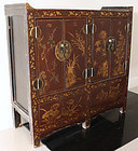 Chinese Qing Republic Lacquered Wood Chest Cabinet Flowers Bamboo