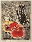 Japanese  Woodblock Print Tadashi Nakayama Flowers & Riding Horse