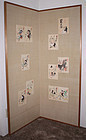 Japanese Showa Two-panel Silk Screen Custom Made with Set of 10 Otsu-e