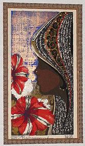 Japanese Ltd. Ed. Woodblock Print Tadashi Nakayama Girl & Petunias