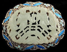 Chinese Jade Carved Plaque Silver Filigree Enamel Brooch Hehe Erxian