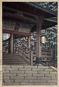 1st Edition Japanese Woodblock Print Hasui Kawase Tanigumi Temple Mino