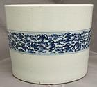 Chinese Qing Blue & White Porcelain Brush Pot Bitong Bats Among Clouds
