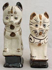 Two Chinese Qing Guangxu Cizhou Stoneware Cat Joss Stick Holders