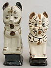 Two Chinese Qing Guangxu Cizhou Stoneware Cat Joss Stick Holders