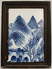 Chinese Qing Qianlong Blue & White Landscape Plaque Wood Frame