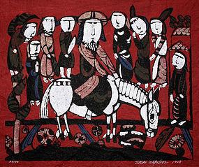 Large Japanese Kappa-ban Stencil Print Sadao Watanabe Triumphal Entry