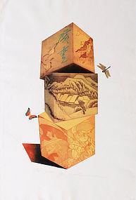 Oversized Japanese Limited Edition Etching Print Ouchi Makoto Yuki