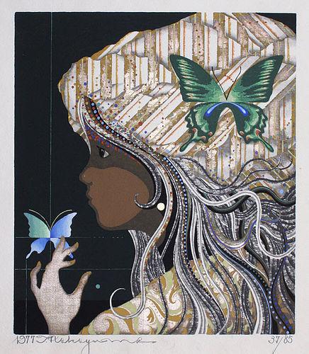 Japanese Ltd. Ed. Woodblock Print Tadashi Nakayama Butterfly Girl
