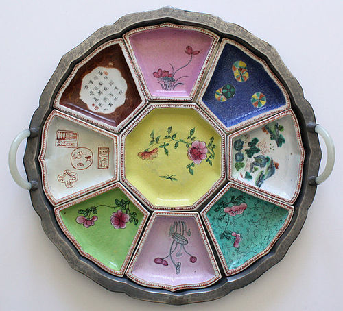 Chinese Qing Qianlong Famille Rose Sweetmeat Set Pewter Jade Case
