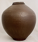 Large Vintage Japanese Showa Brown Glazed Stoneware Storage Jar