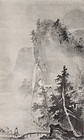 Japanese Taisho to Showa Scroll Sumi-e Painting Figures in Landscape