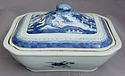 Chinese Qing Canton Blue White Export Porcelain Lidded Vegetable Dish