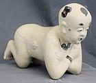 Chinese Qing Guangxu Cizhou Type Stoneware Pillow Crouching Boy