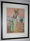 Japanese Woodblock Print Paul Jacoulet Sunset Menado Celebres