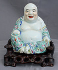 Chinese Qing Guangxu Famille Rose Porcelain Budai Custom Wood Stand