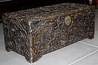 Chinese Qing Guangxu to Republic Camphor Wood Trunk Carved Lotus