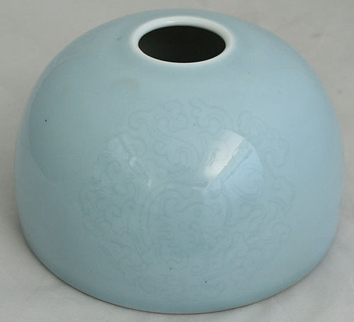 Chinese Qing Kangxi Marked Sky Blue Beehive Waterpot Taibo Zun