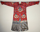 Chinese Qing Manchu Style Nine-Dragon Silk Embroidered Red Robe