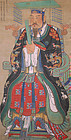 Large Chinese Qing Dynasty Painting Seated Confucian Worthy Portrait
