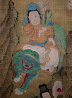 Two Chinese Qing Scroll Paintings on Silk After Ding Yunpeng