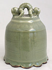 Chinese Ming Dynasty Celadon Glazed Porcelain Ritual Dragon Bell