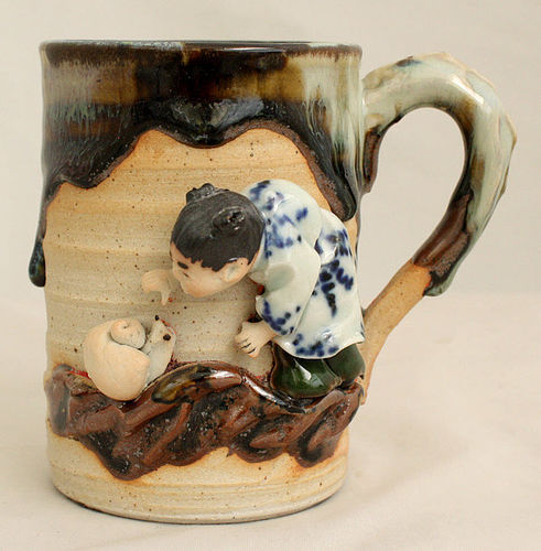 Japanese Meiji Taisho Sumida Gawa Pottery Mug Ryosai Child Snail