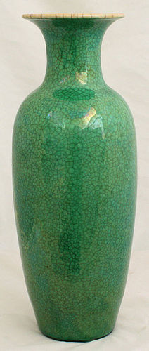 Chinese Qing Guangxu Apple Green Geyao Style Porcelain Vase