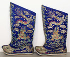 Pair of Chinese Qing Silk Embroidered Boots Dragon Clouds